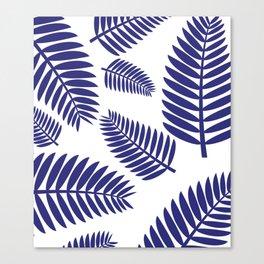 Blue Leaves Ferns Pattern Canvas Print