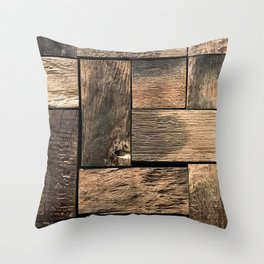 Rustic Wood Block // Tetris Jenga Vibe Real Hardwood Texture Accent Decoration Throw Pillow