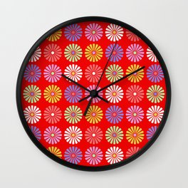 Pastel Flowers Pattern (On Red) Wall Clock