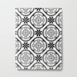 Black and White Folk Floral Geometric. Metal Print