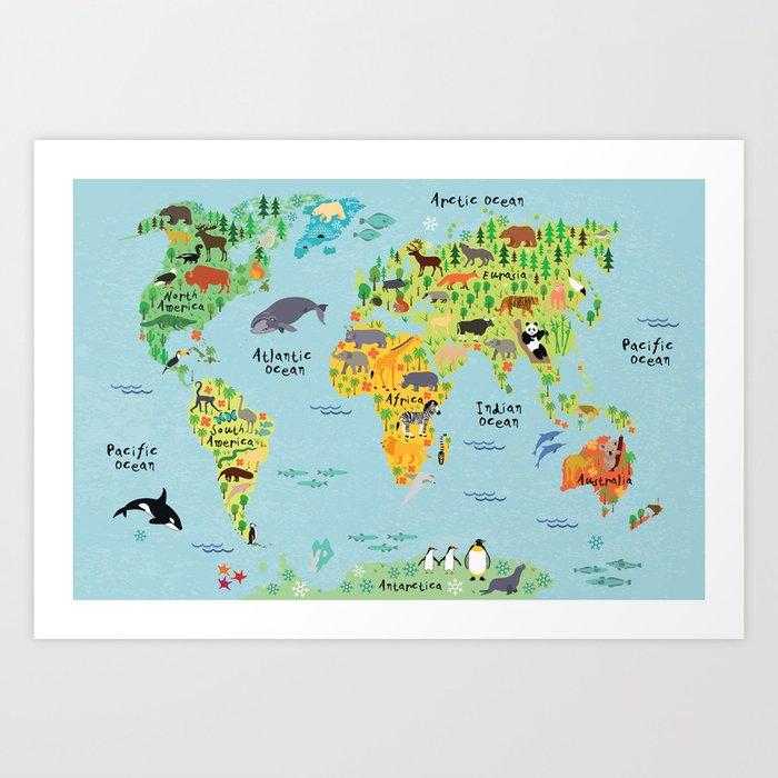 Animal world map art print by littleuniverseshop society6 animal world map art print gumiabroncs Choice Image