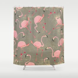 Grey Flamingo Pattern Shower Curtain