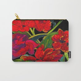 Inky Tulips Black Carry-All Pouch