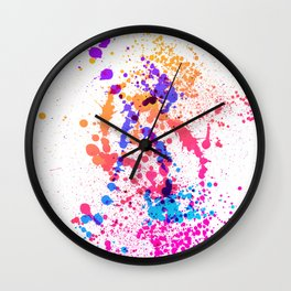Energetic Expressive Multicolor Paint Splatter Wall Clock