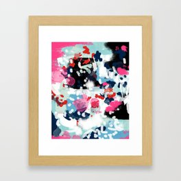 Aubrey - Abstract painting in bright colors pink navy white gold Framed Art Print