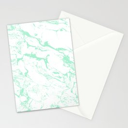 Trendy modern pastel mint green white marble pattern by Girly Trend Stationery Cards
