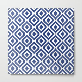 Mid Century Modern Diamond Ogee Pattern 136 Indigo Blue Metal Print