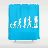 dr who Shower Curtains featuring Dr Who Evolution by Cheeky Designs