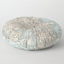 Vintage Map of Norway and Sweden (1893) Floor Pillow