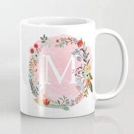 Flower Wreath with Personalized Monogram Initial Letter M on Pink Watercolor Paper Texture Artwork Coffee Mug