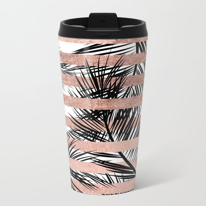 Trendy tropical palm trees chic rose gold stripes Metal Travel Mug