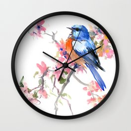 Bluebird and Cherry Blossom Wall Clock