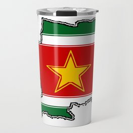 Suriname Surinam map with Surinamer Flag Travel Mug