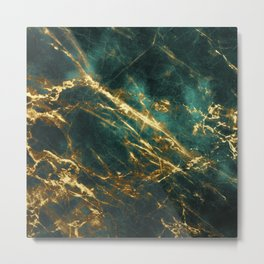 Glamorous Green Faux Marble Pattern With Gold Veins Metal Print
