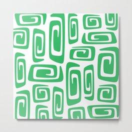 Mid Century Modern Cosmic Abstract 613 Green Metal Print