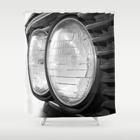 bmw Shower Curtains featuring vintage BMW headlights by ruthj