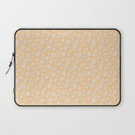 Festive Soybean Cream and White Christmas Holiday Snowflakes Laptop Sleeve
