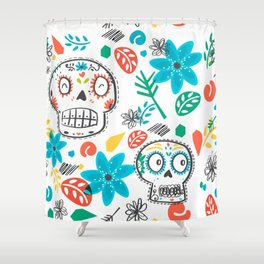 Summer sugar skulls Shower Curtain