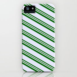 Lavender and Dark Green Colored Lines/Stripes Pattern iPhone Case