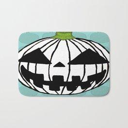 White Pumpkin Jack O Lantern  Bath Mat