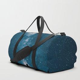 Blue Milky Way At Night Pine Tree Silhouette Stars Night Time Duffle Bag