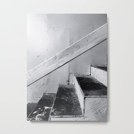 wood stairway with wood background in black and white Metal Print