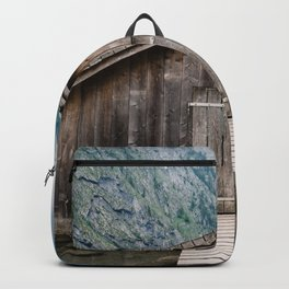 Cottage in a misty lake Backpack