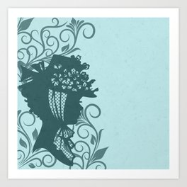 Garden Hat Chic:  Stylish Lady in hat silhouette with turquoise blue and teal Art Print