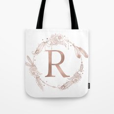 Letter R Rose Gold Pink Initial Monogram Tote Bag
