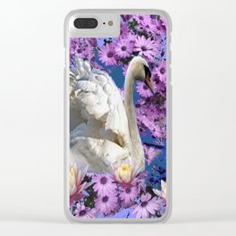 WHITE  SWAN LILAC FLOWERS WATER ART Clear iPhone Case