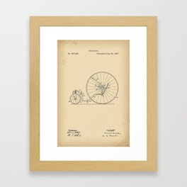 1887 Patent Velocipede wheel Bicycle archive history invention Framed Art Print