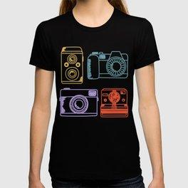 Vintage Camera Retro Color Pastel Hand Drawn T-shirt