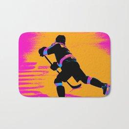 He Shoots! - Hockey Player Bath Mat