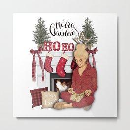 Merry Christmas Scene Metal Print