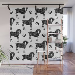 Folk Art Horse Pattern Black-White Wall Mural
