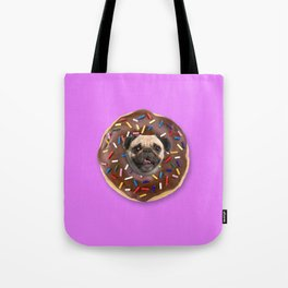 Pug Chocolate Donut Tote Bag