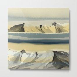Nature Peaceful Dreamy Mountains Landscape Watercolor Effect Design Metal Print