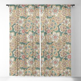 Wooden flowers Sheer Curtain
