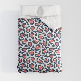 Abstract Leopard Print in Coral and Navy Blue Comforters
