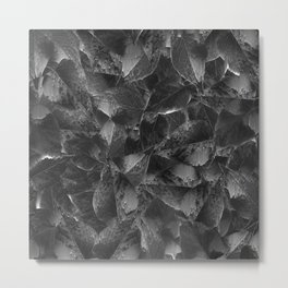 Leaves pattern with glitch effect Metal Print