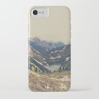 teal iPhone & iPod Cases featuring Mountain Flowers by Kurt Rahn
