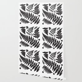 Black and White Ferns Wallpaper