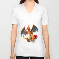 charizard V-neck T-shirts featuring Charizard by Yamilett Pimentel
