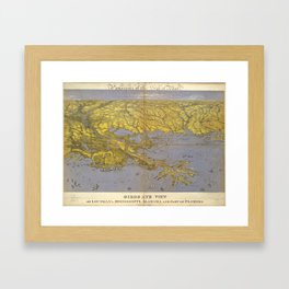Vintage Pictorial Map of The Gulf (1861) Framed Art Print