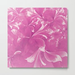 Stylized flowers in pink Metal Print