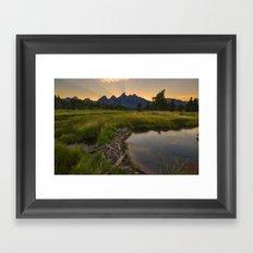 Grant Teton National Park Mountain Sunset Framed Art Print