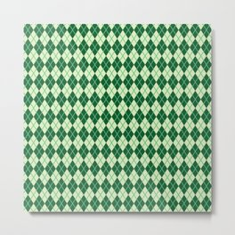 Green Argyle Pattern Metal Print