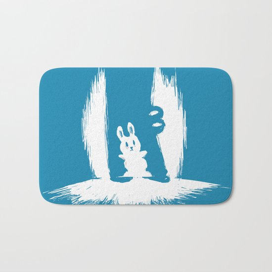 cornered! (bunny and crocodile) Bath Mat