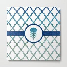 Jellyfish: Tropical Water Moroccan Pattern Metal Print