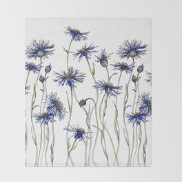 Blue Cornflowers, Illustration Throw Blanket